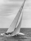The Two Sail Sailboat Vigorously Gliding Through the Water During the America&#39;s Cup Trail