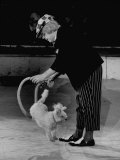Soviet One Man Band Clown with Performing Poodle in Russian Circus Act Skipping Rope