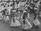 Young Kandyan Dancers in Procession Dancing in the Street in Colombo to Celebrate Buddha's Birthday