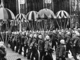 Paratroopers of Civilian Air Club Marching in May Day Parade
