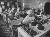 Workers in Astrakhan Factory Canning and Weighing Caviar