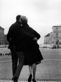 Romantic Couple Walking on the Odeonsplatz