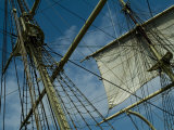 Mast  Ropes and Sail of an Old Wooden Tall Ship