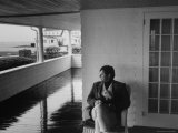 Senator Edward M Kennedy Sitting on a Porch Relaxing