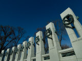 Pillars Adorned with Bronze Wreaths at World War II Memorial