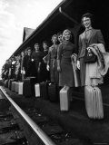 Smith College Girls Standing at Northampton Station with Their Suitcases