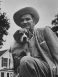 Senator Lyndon B Johnson with Pet Called Little Beagle Jr on His Ranch