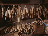Wooden Rolling Pins of All Shapes and Sizes Fill a Stall
