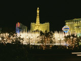 A Night View of the Water and Light Show at the Bellagio Hotel