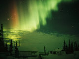 The Aurora Borealis Shimmers in the Night Sky