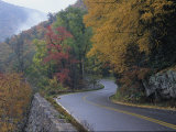 Autumn View of a Road Winding Through Goshen Pass  Virginia