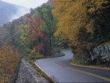 Autumn View of a Road Winding Through Goshen Pass  Virginia