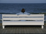 Morning Boardwalk Visitor in Quiet and Balanced Ocean Contemplation