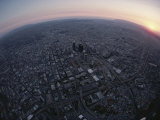 An Aerial Fisheye Lens View of Los Angeles at Twilight