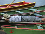 Tour Boat Guide Naps in Rowboats on Li River  Guilin  Guangxi  China