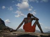 A Samburu Goatherd Takes a Break on the Top of a Hill