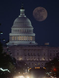 US Capitol with Moon  Night View