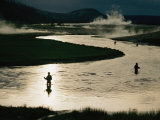 Fishermen in Yellowstone River Surrounded by Geothermal Activity
