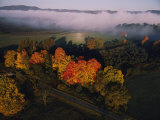 Fog Hangs over Trees Decorated with Autumn Colors in a West Virginia Valley