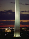 Twilight View of the Washington Monument and Jefferson Memorial