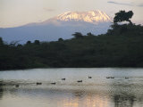 Mount Kilimanjaro Rises above One of Tanzanias Momela Lakes