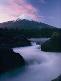 Twilight View of Rio Petrohue Winding Through Rocks with Osorno Volcano in the Background