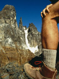 Hikers Leg During Pause at the Base of Granite Peaks in the Andes