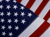 A Close-up of the Stars and Stripes of an American Flag