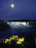American Side of Niagara Falls  Seen at Night from Niagara Oaks Garden