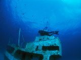 A Diver Exploring a Shipwreck with Fish Nearby