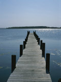 View on a Clear Summer Day of a Dock Extending Out into a Bay