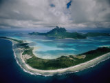 Aerial View of Bora-Bora  its White Beaches Ringed by a Coral Reef