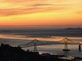 A Distant View of the Astoria-Washington Bridge at Twilight