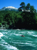 Kayaker Surfing Terminator Rapid Waves  Futaleufu  Chile