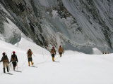 Roped Together  Mount Everest Expedition Members Trek Across a Snowfield