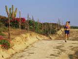 A Woman Jogs on a Dirt Road in Baja California State
