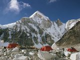 The Mount Everest Expedition Campsite on a Mountain Side Strewn with Boulders