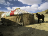 A Yurt with a Colorful Roof in Bayan Olgiy  Mongolia