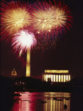 July 4th Fireworks over Washington Landmarks and the Potomac River