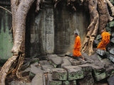 Angkor Wat Temple with Monks  Siem Reap  Cambodia