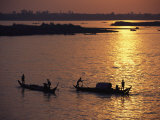 Boats Silhouetted on the Mekong River at Dusk  Phnom Penh  Cambodia
