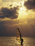 A Windsurfer Skims the Water  Silhouetted by Evening Sun on Pamlico Sound