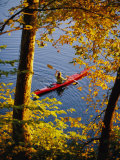Woman Kayaking with Fall Foliage  Potomac River  Maryland