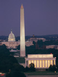 A Night View of the Lincoln Memorial  Washington Monument  and Capitol Building
