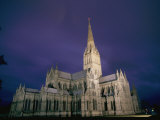 A View of the Salisbury Cathedral at Night