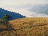Mountain Bikers on Trail Above Fog-Covered Elk River Valley