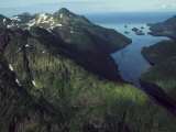 Aerial View of the Alaskan Shores at Prince William Sound