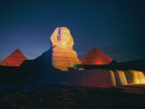A Night View of the Great Sphinx and the Pyramids of Giza