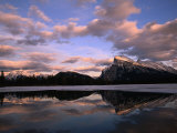 Pastel Shades of Dusk Over Mt Rundle and Vermilion Lake  Banff National Park  Alberta  Canada