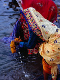 Women Washing Saris at Man Mandir Ghat  Varanasi  Uttar Pradesh  India